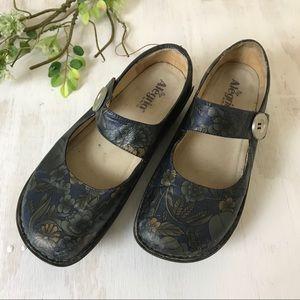 Alegria blue floral print women's shoe size 42